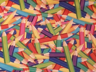 Jersey Buntstifte - Digitaldruck - bunt