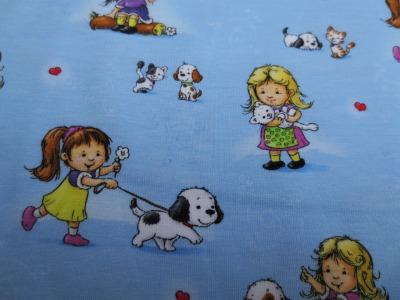 Jersey kleine Mädchen Hunde Katzen hellblau