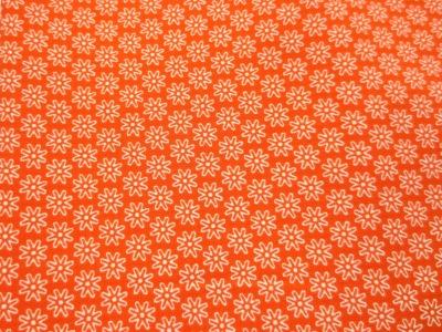 Stoff Blumen orange - 100 Baumwolle
