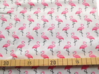 Baumwolle Flamingos - grau - 100