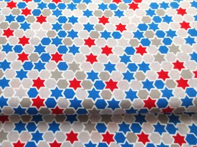 Baumwollstoff Sterne rot blau weiss 100