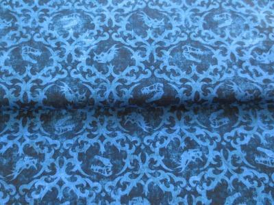 Stoff Dino Tattoo Baumwolle blau Batikoptik