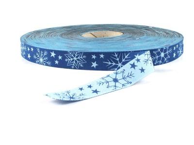 Webband Schneekristalle - blau