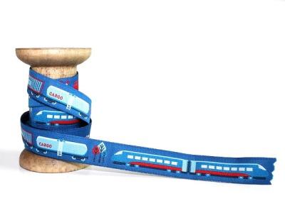 Webband Eisenbahn - blau