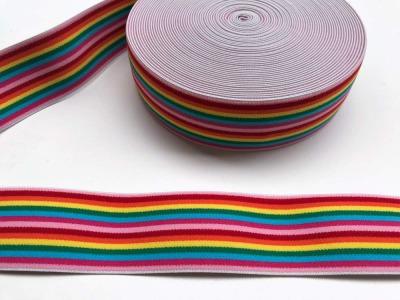Gummiband Regenbogen schmale Streifen cm Breit