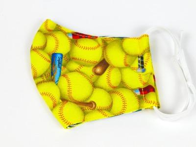 Alltagsmaske Softball gelb 100 Baumwolle mit