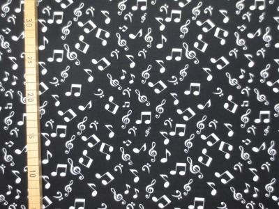 Baumwollstoff Noten - schwarz - 100