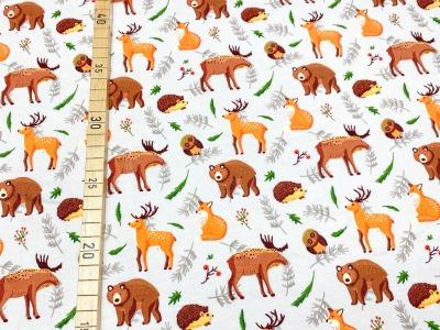 Jersey Waldtiere beige Fuchs Eule Elch
