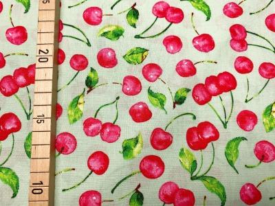 Stoff Kirschen 100 Baumwolle Patchwork grün