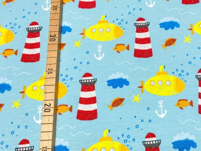 Jersey Boot Leuchtturm hellblau Yellow Submarine