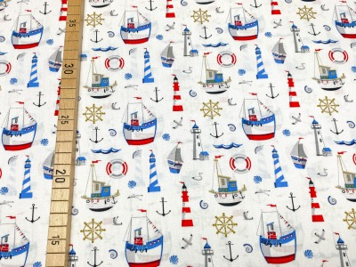 Baumwollstoff maritim weiß 100 Baumwolle Segelboot