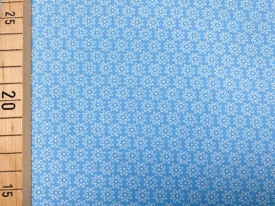 Stoff Blumen hellblau - 100 Baumwolle