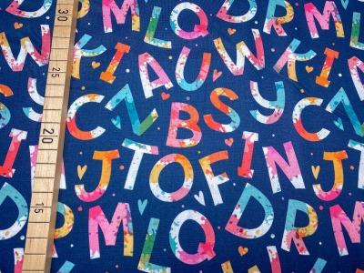 Stoff bunte Buchstaben blau 100 Baumwolle