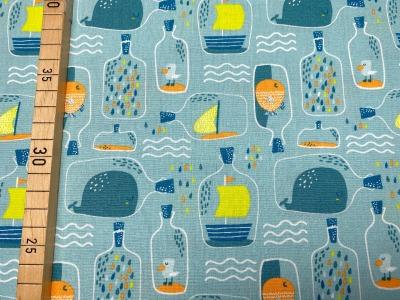 Stoff Flaschenpost hellblau 100 Baumwolle Patchwork