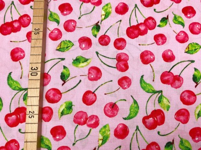 Stoff Kirschen 100 Baumwolle Patchwork rosa