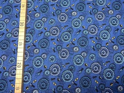 Stoff Zahnrad blau/gelb 100 Baumwolle Patchwork
