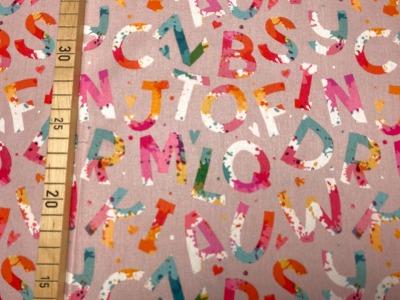 Stoff bunte Buchstaben beige 100 Baumwolle