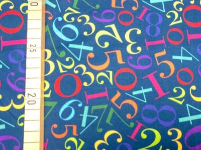 Stoff Zahlen blau 100 Baumwolle Patchwork