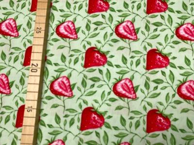 Stoff Erdbeere 100 Baumwolle Patchwork grün
