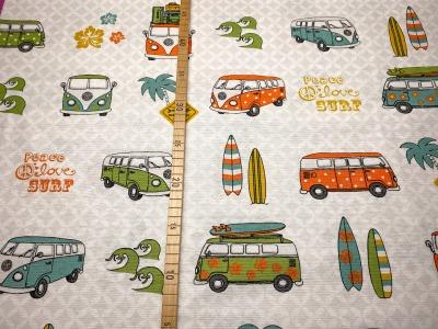 Deko-Baumwolle VW Bus Surfbretter Lizenzstoff orange