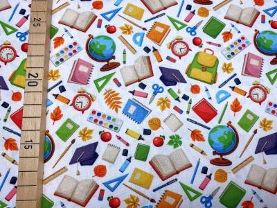 Stoff Schule weiß 100 Baumwolle Patchwork