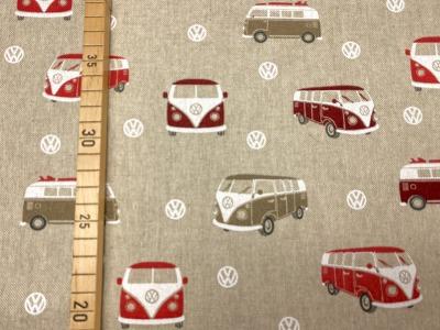 Baumwolle VW Bus VW Logo leinenoptik/rot