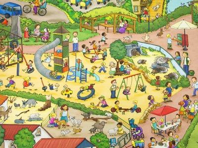 Baumwolle Zoo Tierpark Wimmelbild Zoo Nordhorn