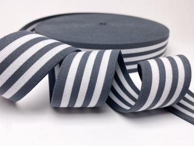 Gummiband gestreift - weiß/grau - 4
