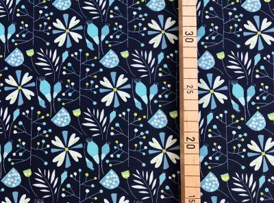 Jersey Blumen dunkelblau Nachts im Zauberwald