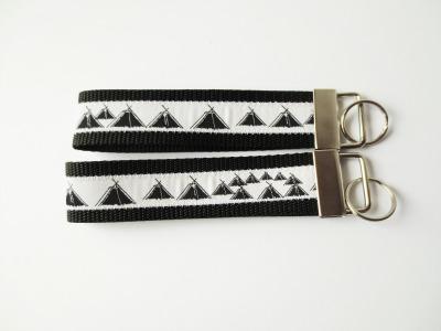 Pfadfinder Schlüsselband in schwarz Webband weiß