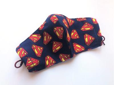 Behelfs-Gesichtsmaske Superman -100 Baumwolle mit Gummis