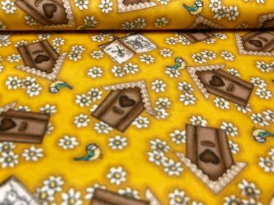 Baumwollstoff Vogelhäuschen - gelb - 100