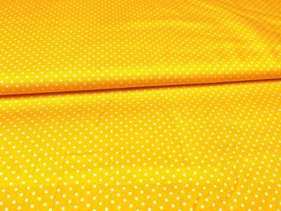 Baumwollstoff Pünktchen gelb mit weißen Punkten