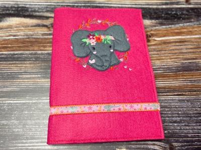 U-Heft-Hülle Elefant pinker Filz Bohofant Elefantenmädchen