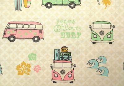 Deko-Baumwolle VW Bus Surfbretter Lizenzstoff rosa