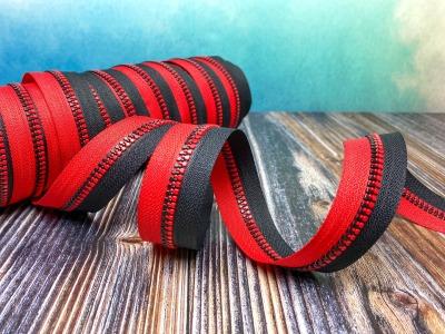 Endlos-Reißverschluss - schwarz/rot - in 20