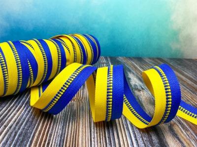 Endlos-Reißverschluss blau - gelb - Eigenproduktion