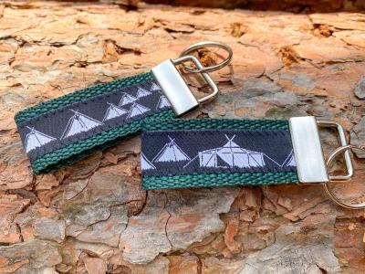 Pfadfinder Schlüsselanhänger kurz in dunkelgrün Webband