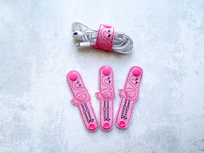 Kabelhalter Flamingo - Kunstleder - rosa