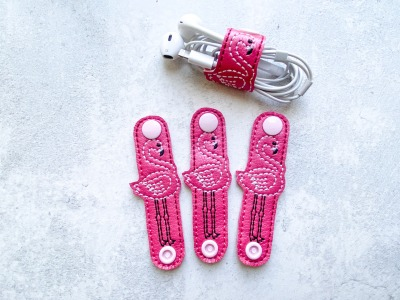 Kabelhalter Flamingo - Kunstleder - pink