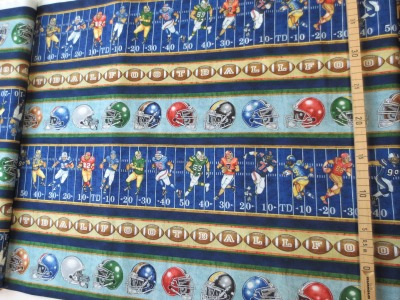 Stoff Football Spielfeld 100 Baumwolle blau