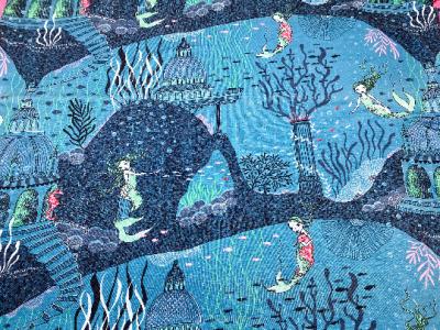 cm Reststück Biojersey Meerjungfrau blau lillestoff
