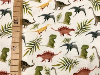 Jersey Dinosaurier mit Pflanzen - rohweiß