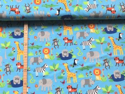 Jersey Zootiere hellblau Löwe Giraffe Nilpferd