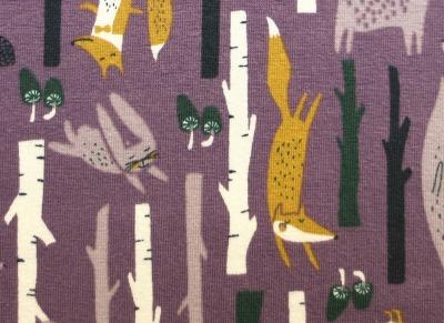 Jersey Waldtiere lila senf Fuchs Bär