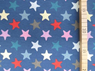 Jersey bunte Sterne - blau -