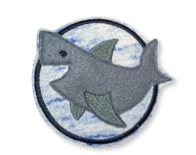 Klett-Patch Hai - ca 8 cm