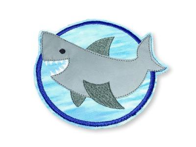 Klett-Patch Hai - ca 10 cm