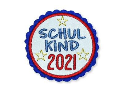 Klett-Patch Schulkind rot/blau ca cm Durchmesser