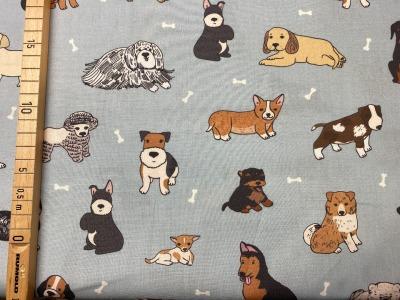 Stoff Hunde hellblau 100 Baumwolle Patchwork